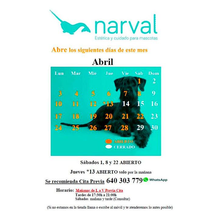 CALENDARIO ABRIL 17 narval peluquería canina